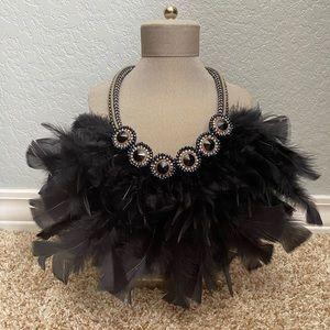 Black Feather Bib Statement Necklace